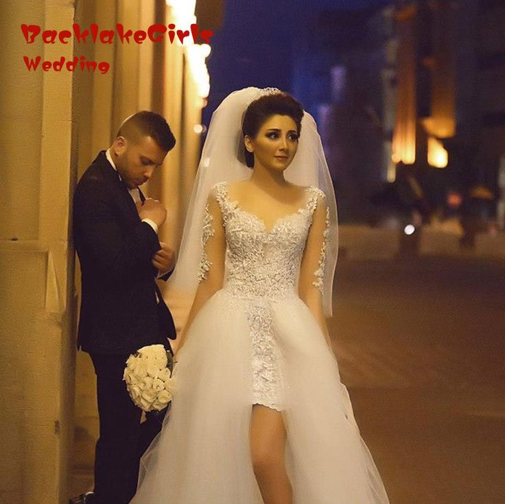 ==> [Free Shipping] Buy Best Lace 2016 Newest Detachable Train High Low Wedding Dress Illusion White Long Sleeve Wedding Gowns Online Shop China Fashion Online with LOWEST Price | 32726598782