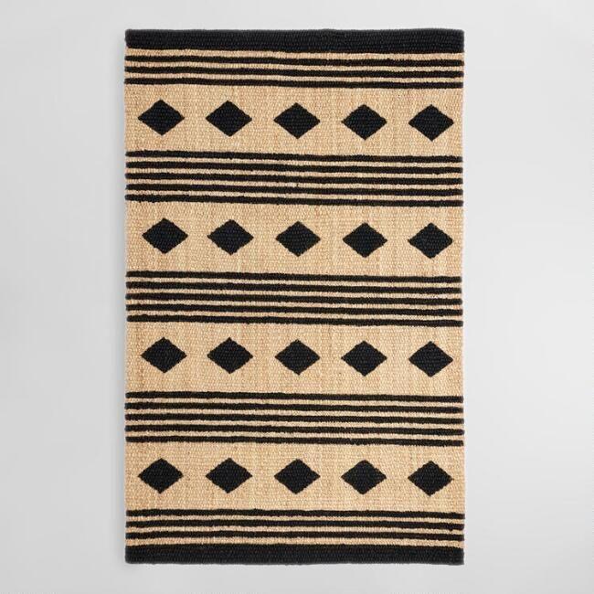 5ftx8ft Black And Tan Geometric Chunky Jute Kaleb Area Rug With