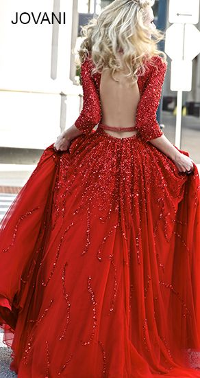 Red Open Back Gown