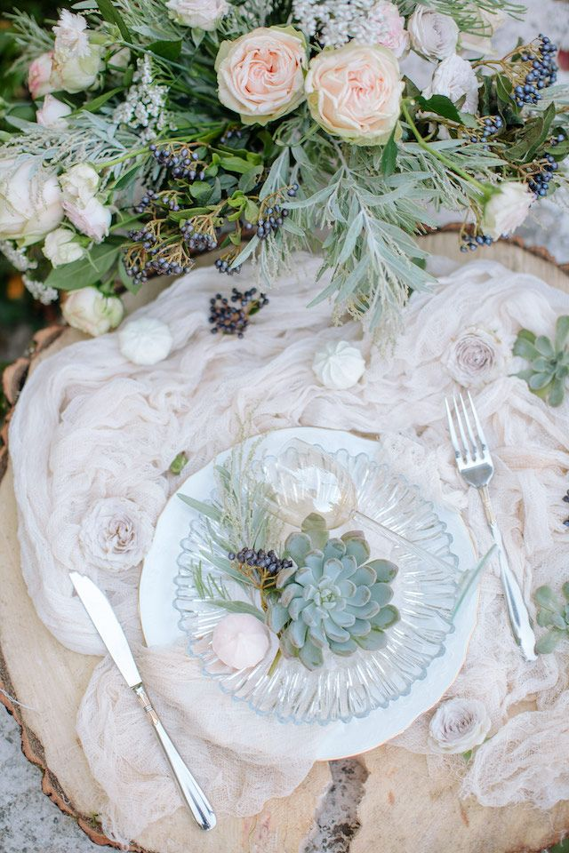 Romantic blush and succulent place setting | Anastasia Vlasova | see more on: http://burnettsboards.com/2016/01/brides-morning-garden/
