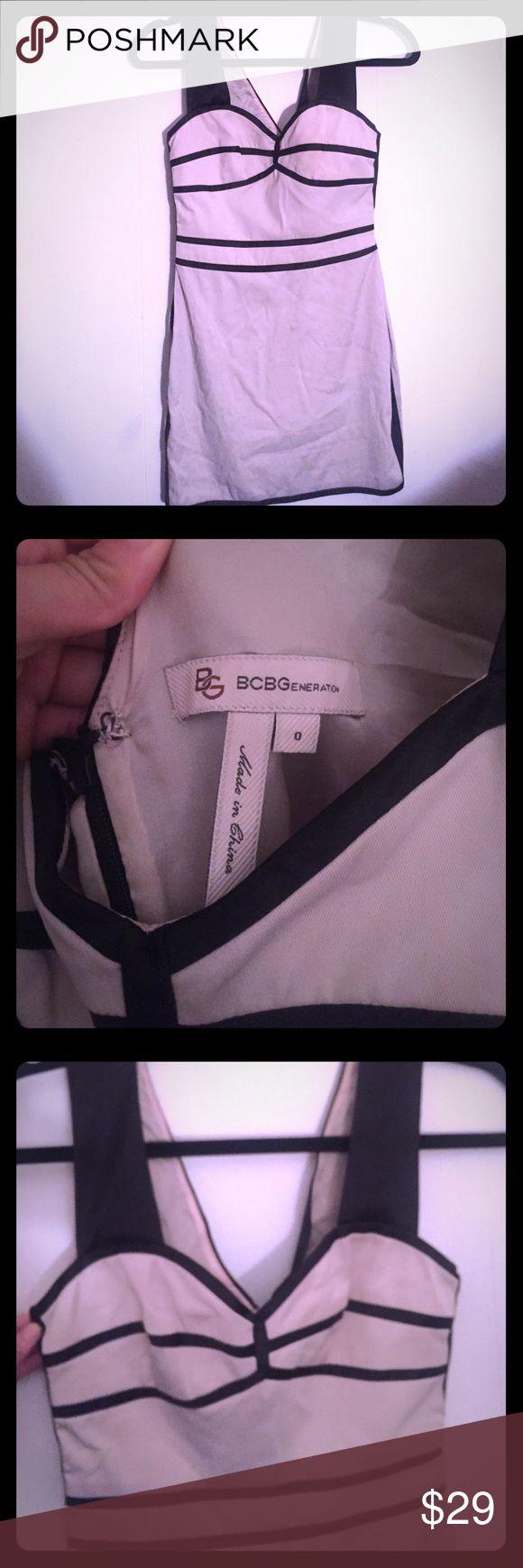 BCBGeneration Khaki Tux Mini Dress BCBGeneration Khaki Tux Mini Dress. Size 0. Style: KSL6H878. 62% Polyester 35% Cotton 3% Spandex. BCBGeneration Dresses Mini