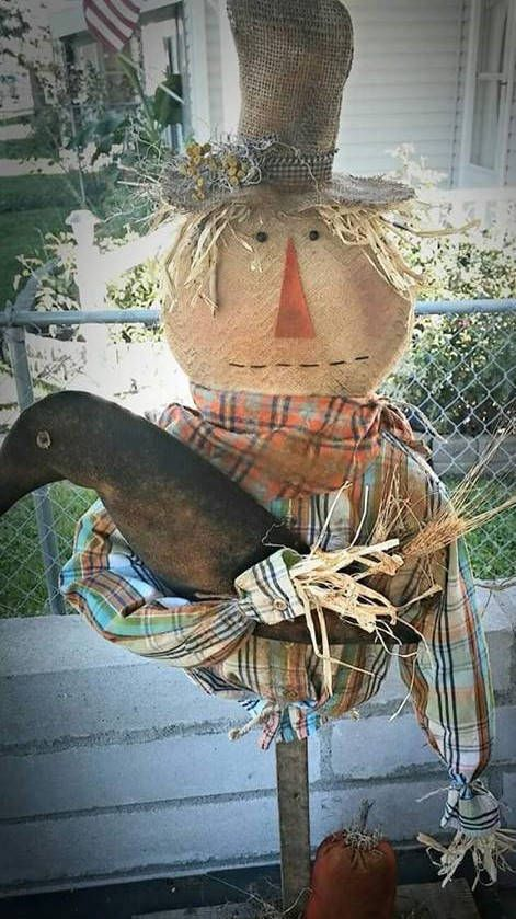 Primitive cloth doll PATTERN Scarecrow Stake KPD