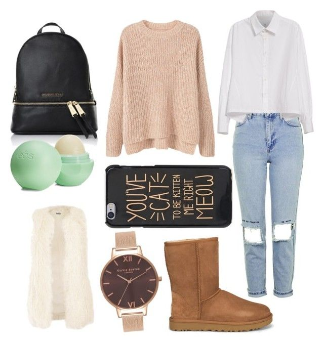"""School 👍"" by adine233 on Polyvore featuring Topshop, UGG, Y's by Yohji Yamamoto, MANGO, MICHAEL Michael Kors, Eos, Jakke and Olivia Burton"