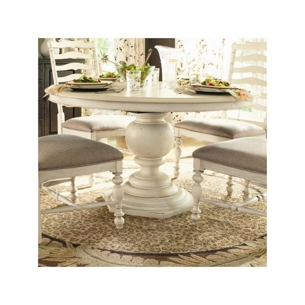 Paula Deen Home Round Pedestal Table in Linen Finish