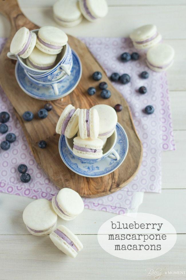 Blueberry Mascarpone Macarons