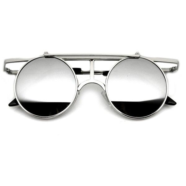 Steampunk Vintage Inspired Crossbar Flip Up Metal Sunglasses 8972 (€9,77) ❤ liked on Polyvore featuring accessories, eyewear, sunglasses, metal glasses, round sunglasses, flip sunglasses, round lens sunglasses and flip glasses