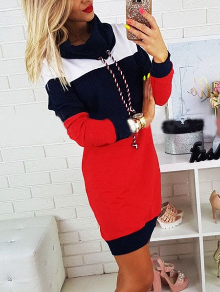 Navy Polo Neck With Drawstring Stitching Design Pullover Dress