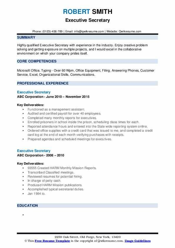 Executive Secretary Resume Samples Qwikresume Resume Template Resume Design Template Resume