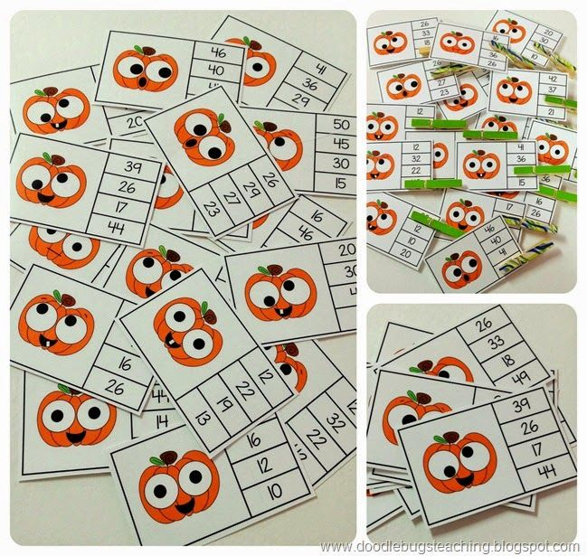 Fall Clip Cards - greatest number, abc order, addition, subtraction, telling time, number words, beginning sounds, ending sounds, what number comes next, what letter comes next and before - super easy to prep, store and use!  http://www.teacherspayteachers.com/Product/Fall-Clip-Cards-Numbers-Telling-Time-Beg-Ending-Sounds-Facts-More-1422924
