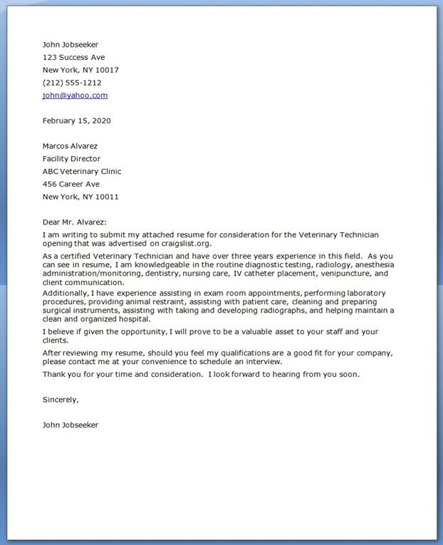 vet tech cover letter great idea on formatting and introduction but this example should have - Cover Letter Sample Format