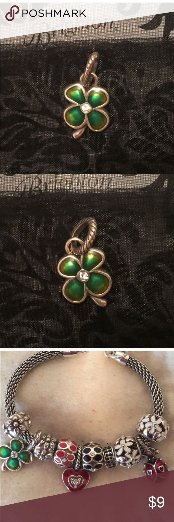 "Coming soon! Brighton green 4-leaf clover charm 🍀 Brighton ABC 4-leaf clover charm  🍀 Enamel finish 🍀 Swarovski crystal in middle 🍀Green design on both sides 🍀 5/8"" wide by 5/8"" High 🍀 Retired 🍀 Like new condition   See design idea in last photo.   **More Brighton beads, charms, spacers, and jewelry in closet, including most items in last photo. Add 2 or more listings to a Bundle and save 10% on all of them, plus pay only one shipping fee!** Brighton Jewelry"