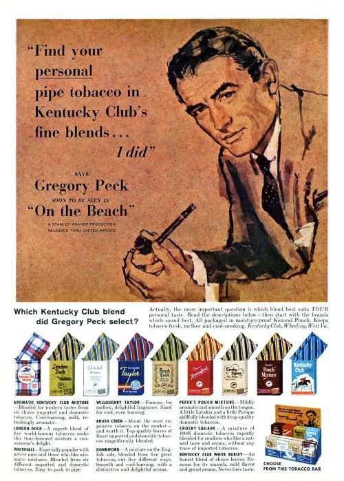 Gregory Peck for Kentucky Club pipe tobacco, 1959