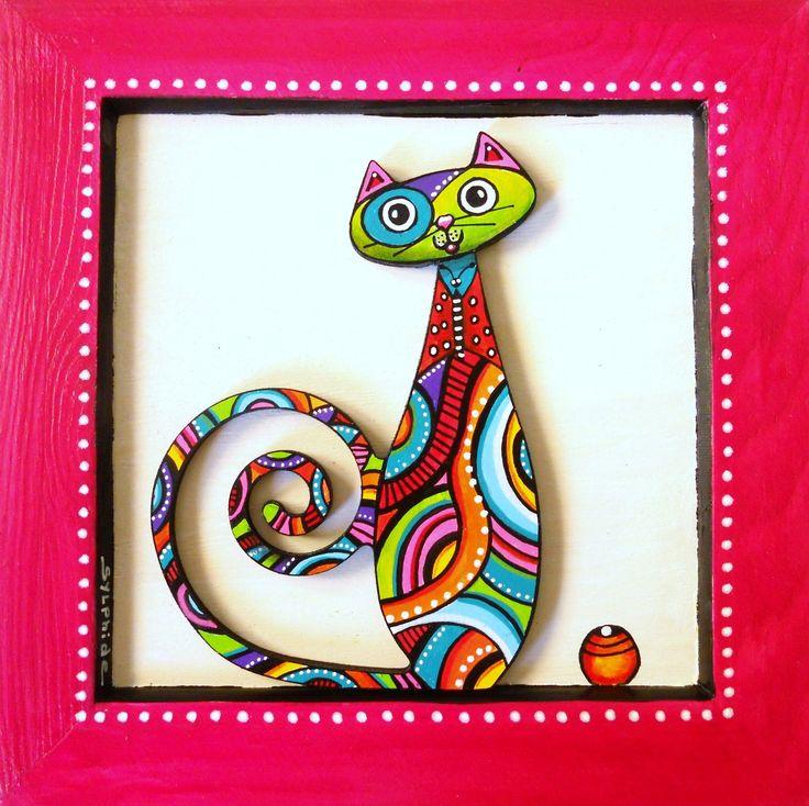 """Tableau du chat """"Papillon"""" en bois peint : Décorations murales par sylphide"""