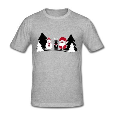 christmas santa, snowman, reindeer red nose, T-Shirts.
