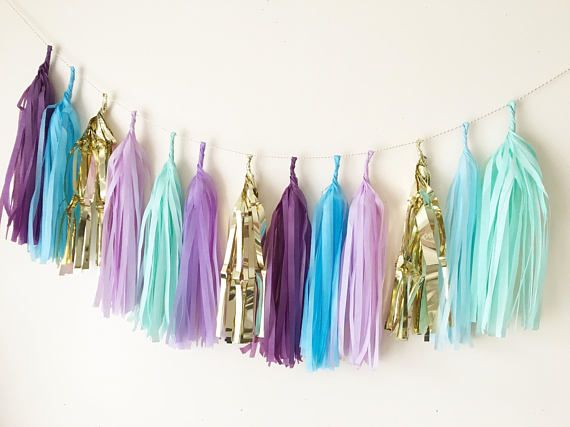 Under the sea mermaid mix garland wedding birthday baby shower christening party decoration back drop