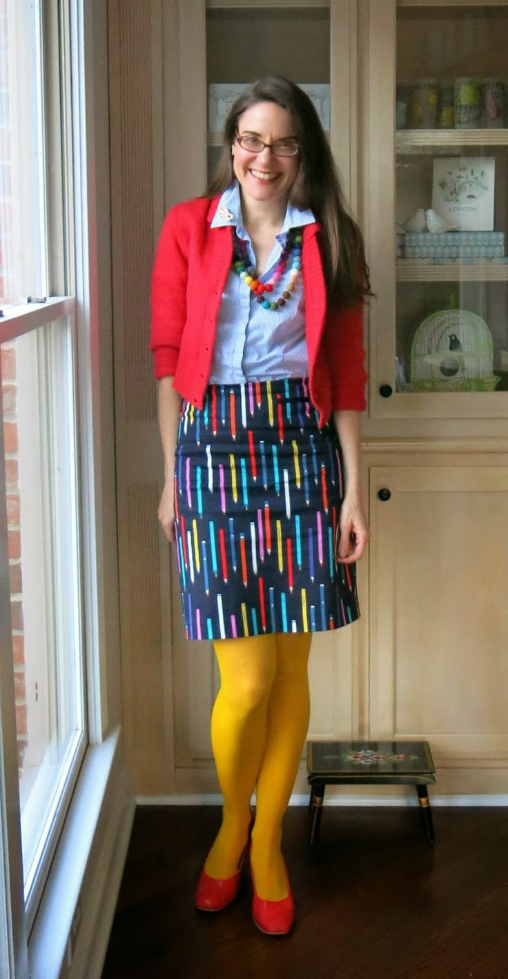 """Love the fun play on """"pencil skirt""""! It's fun when fashion is witty! I would totally wear this on a day when I felt like emphasizing the """"creative professional"""" nature of my work."""