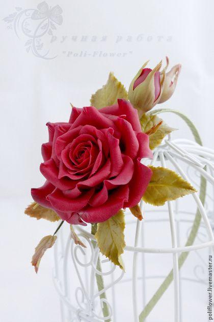 """Ободок с розой """"Tango"""". - бордовый,роза ручной работы,роза из полимерной глины"""