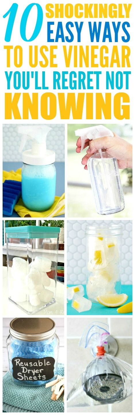 These 10 easy vinegar cleaning hacks are THE BEST! I'm so glad I found these AWESOME cleaning tips! Now I have some great ways to clean my home with chemical-free cleaning ingredients! Definitely pinning!