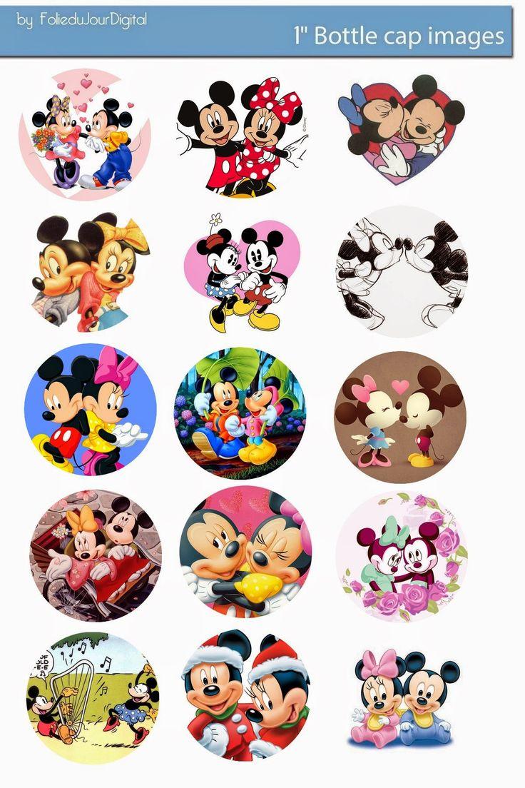 "Mickey & Minnie - Etiqueta para Tapa de Botella de 1""."