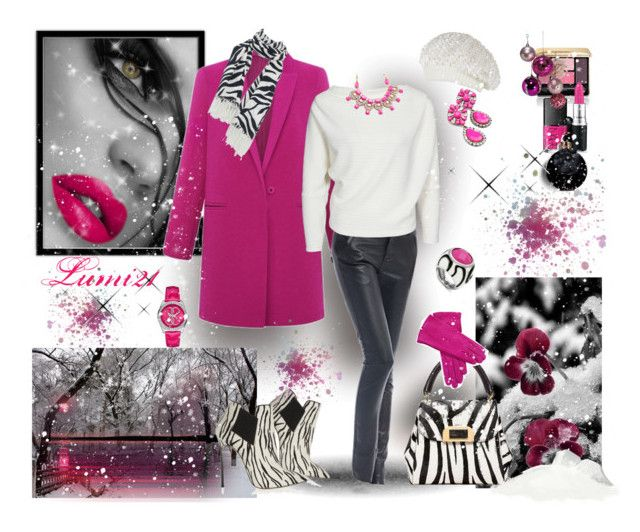 pink winter by lumi-21 on Polyvore featuring Casadei, GUESS, Glitterrings, BCBGMAXAZRIA, Guerlain, Valentino, NARS Cosmetics, Pink, Leather and winterfashion