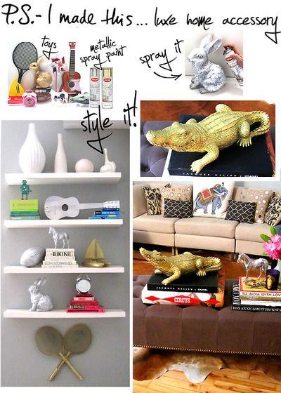 I need cool shelves.: Diy Ideas, Metals Sprays Paintings, Dollar Stores, Home Accessories, Refrigerator, Spraypaint,  Icebox, Animal Decor, Kids Toys