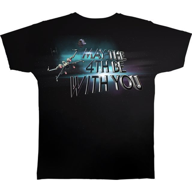 A t-shirt design where the phrase 'May The Force Be With You'', from Star Wars, has been humorously changed to 'May The 4th Be With You'.   The idea was to interpret the word 'may' as the month 'May', and change 'Force' to 4th. It's also a nod to episode 4 of the original Star Wars movies.
