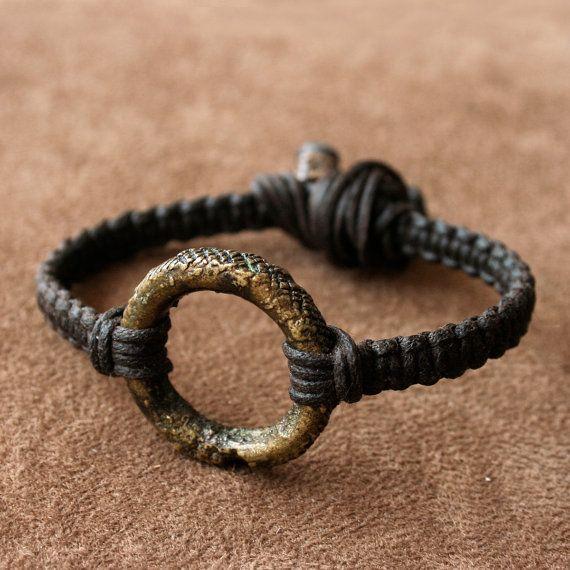 Antik afrikai Gyűrű Karkötő - Solid Brass Ring és Szövött Ágynemű