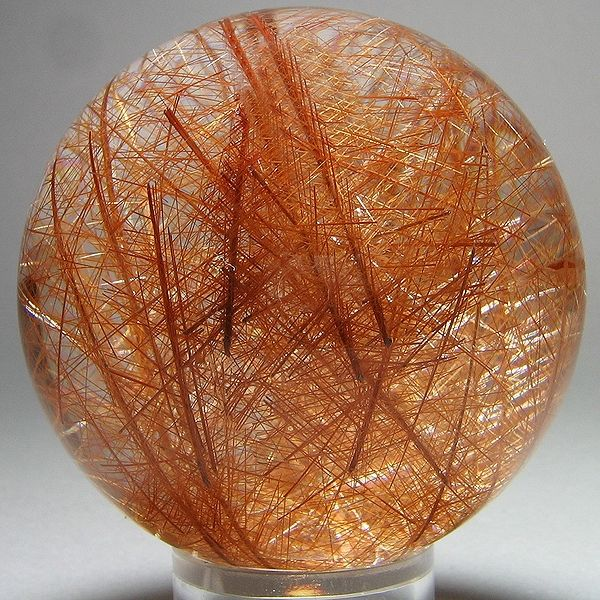 Rock crystal intruded by rutile. Madagascar