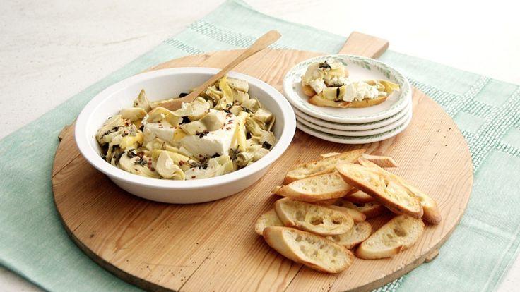 Artichoke-and-Feta Dip   Recipe   Martha stewart, Artichokes and Dips