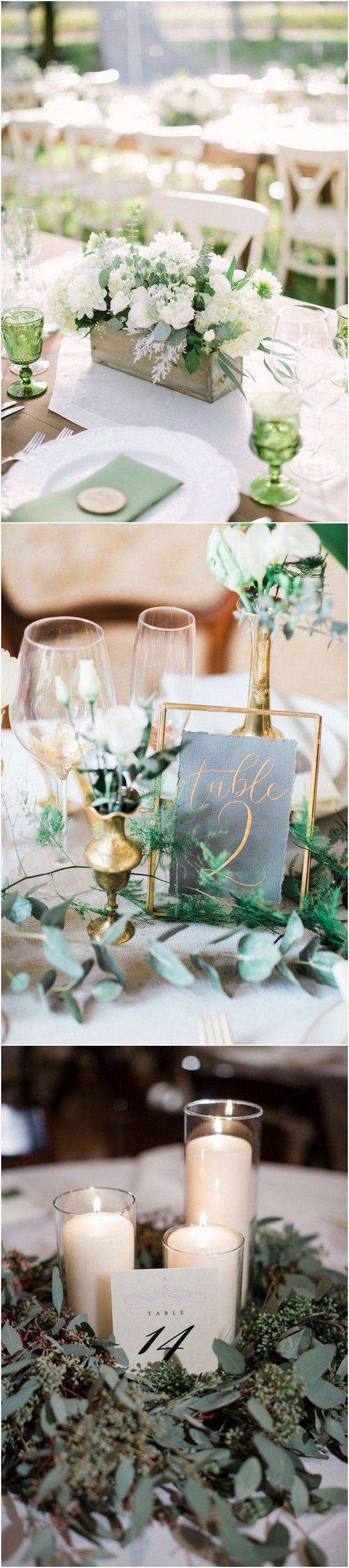 chic rustic white and green wedding centerpiece