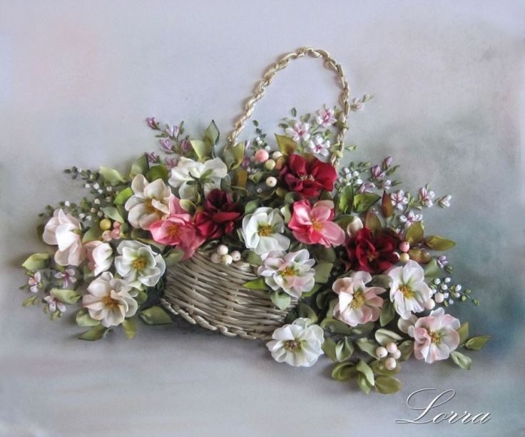 Colorful flowers in a basket #ribbonEmbroidery