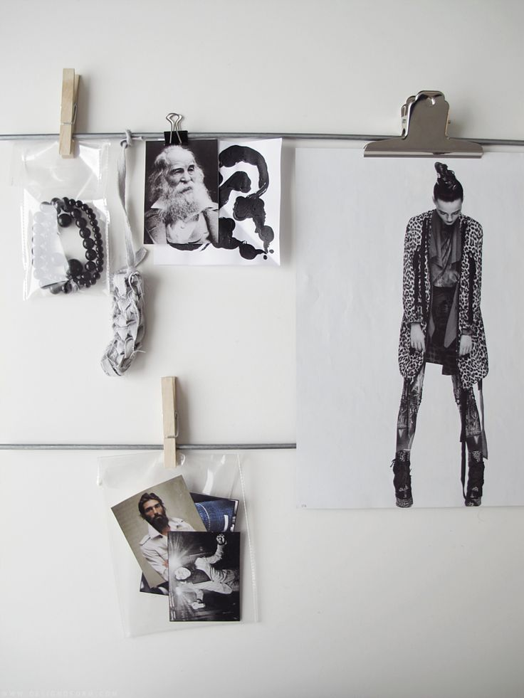 Fashion Moodboard layout idea - collecting inspirations in plastic bags and attaching them to the wall with pegs & clips