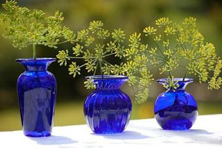 Cobalt Blue Vase with Chartreuse Flowers