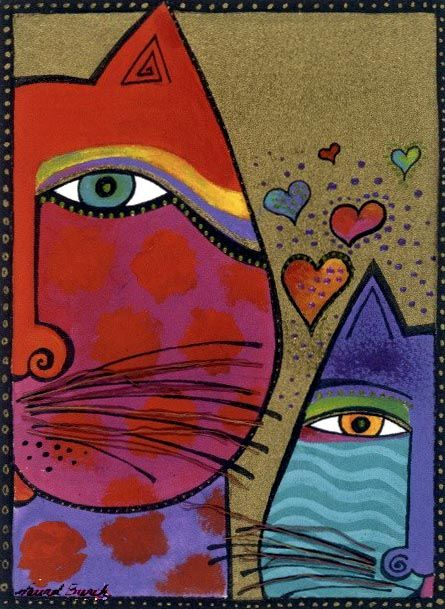 Laurel Burch red cat blue cat two cats