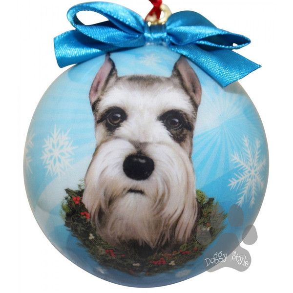 schnauzer cropped shatterproof dog breed christmas ornament