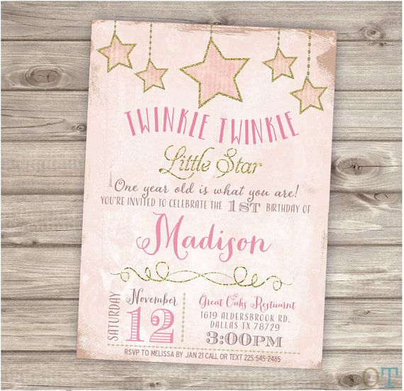 Twinkle Twinkle Little Star Birthday Printable Invitations Shabby Chic Pink Gold Glitter Theme Party girl First Birthday Download pdf jpeg