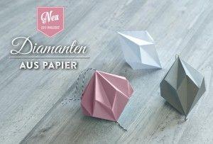 DIY: Papier-Diamanten ganz einfach als tolle Anhänger selber machen! Tutorial und Materialliste findet Ihr hier: https://www.deko-kitchen.de/diy-huebsche-papier-diamanten-zum-aufhaengen/