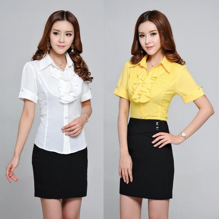 Купить товарЛето мода женские футболки оборками с коротким рукавом желтый формальные дамы офис униформа блузка и топы пр женский Blusas Femininas в категории Блузки и рубашкина AliExpress.                Новый стиль, Горячие продажи!                              Женская мода           Блузки