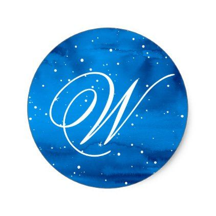 Elegant Script Blue Watercolor Monogram Sticker - Xmas ChristmasEve Christmas Eve Christmas merry xmas family kids gifts holidays Santa