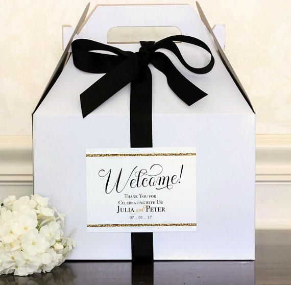 Gold Glitter Wedding Welcome Bag Labels. Personalized Welcome