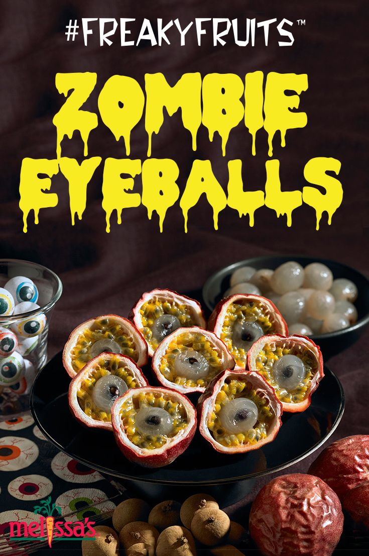 Make your own Zombie Eyeballs with longans and rambutans! Find more DIY crafts, recipes, and decor inspiration at Melissas.com to make your Halloween party extra spooky and delicious!