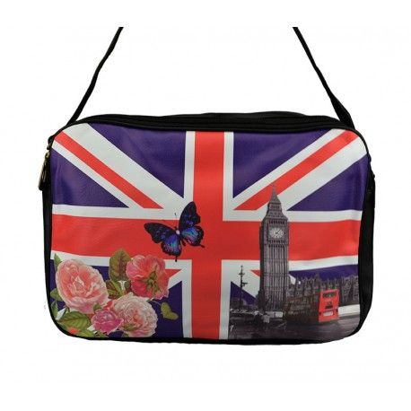 Stor taske med Union Jack, Big Ben og blomster - 3113
