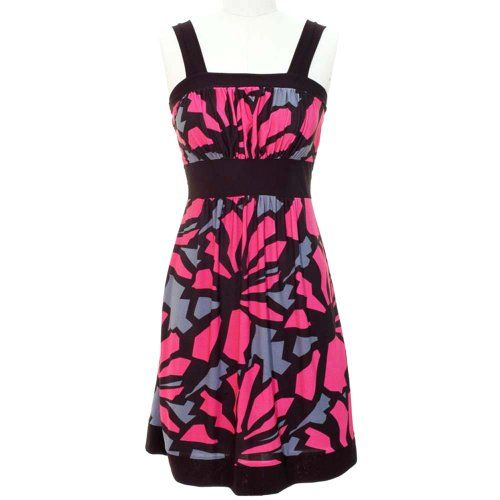 Fuchsia Gray Black Floral Printed Tie Back Sun « Dress Adds Everyday