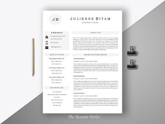 Resume Template 4 Page | Chef CV @creativework247