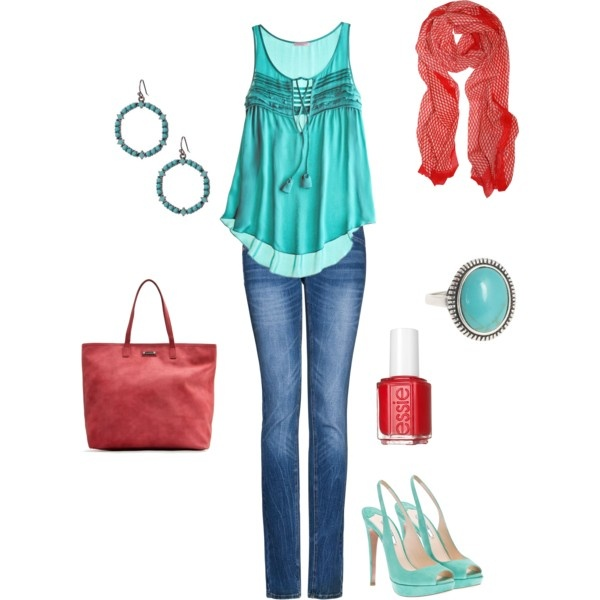 Turquoise and Red. Polyvore