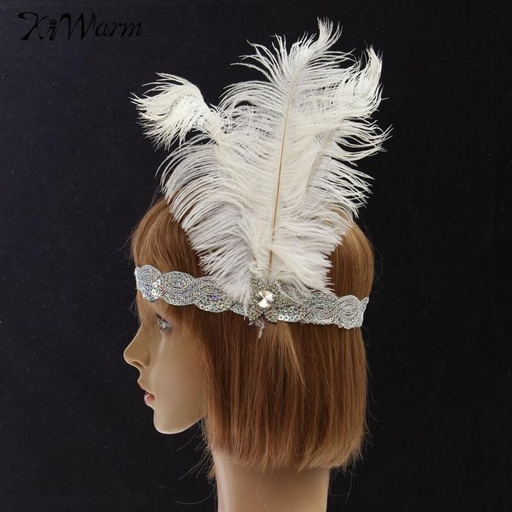 Great Gatsby Sequins Vintage Feather Flapper Headband  Headdress