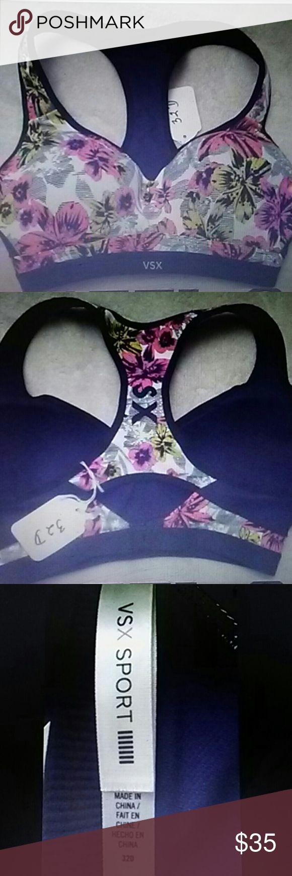 Victoria`s secret VSX sexy floral sport bra sz 32D 32d Vsx sports bra Victorias secret Nwot Victoria's Secret Intimates & Sleepwear Bras