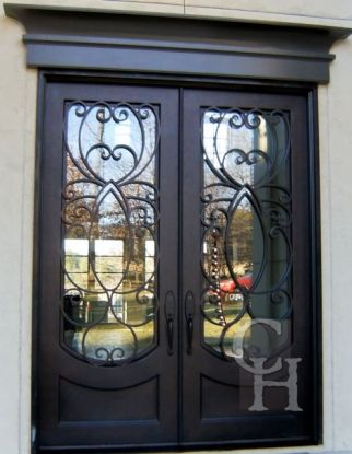 Lovely Wrought Iron Entry Doors with Sidelights
