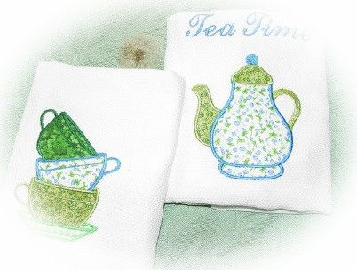 Green Tea Time Embroidered and Appliqueed Tea Towels