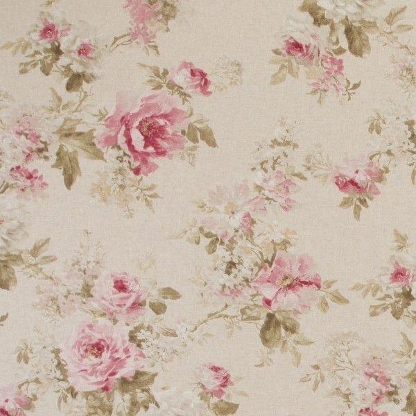 Vintage Rose Bush Floral Flowers Cotton Linen Look Upholstery Fabric ... 8190403a166